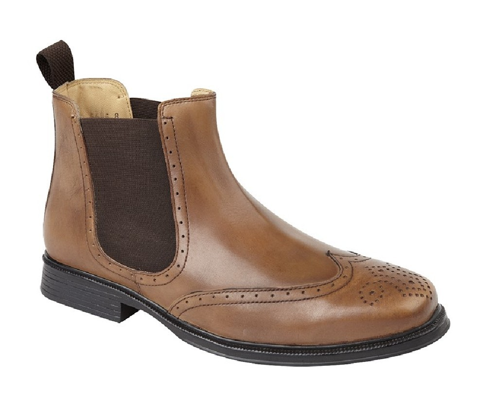 8aa4fce4b7f Roamers M362 Leather Brogue Wing Cap Chelsea Dealer Ankle Boots