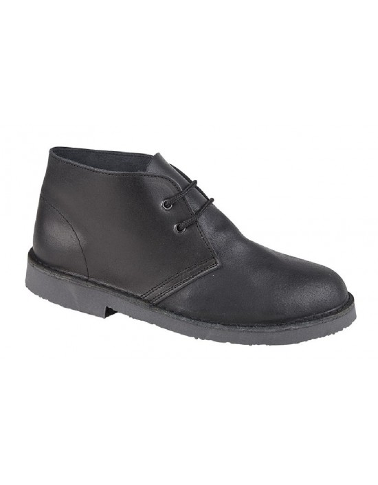 KIDS 2 Eyelet Distressed REAL Leather Desert Boots Black or Brown SIZES 3 4 5 6