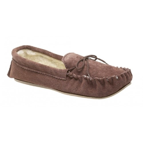 Mokkers SHERIDAN Suede Leather Faux Fur Indoor Slippers Dk.Taupe Real Suede