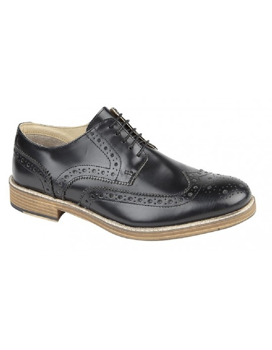 Roamers Brouge Leather Gibson 5 Eyelet Wing Capped Shoes