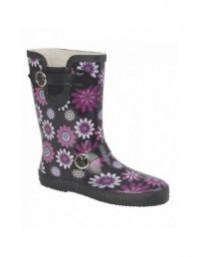 StormWells Buckle Strap/Gusset Floral Wellington