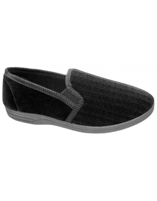Zedzzz RICHARD MS457 Striped Textile Twin Gusset Indoor Slippers