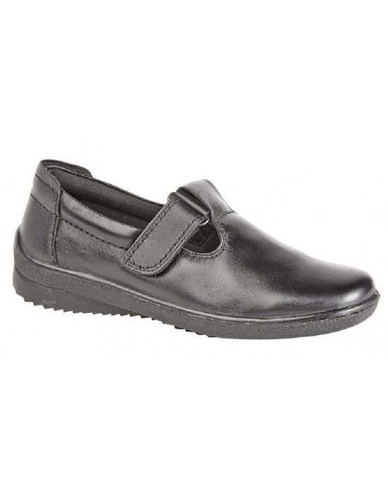 Mod Comfys Touch Fastening Padded T-Bar Leather Shoes