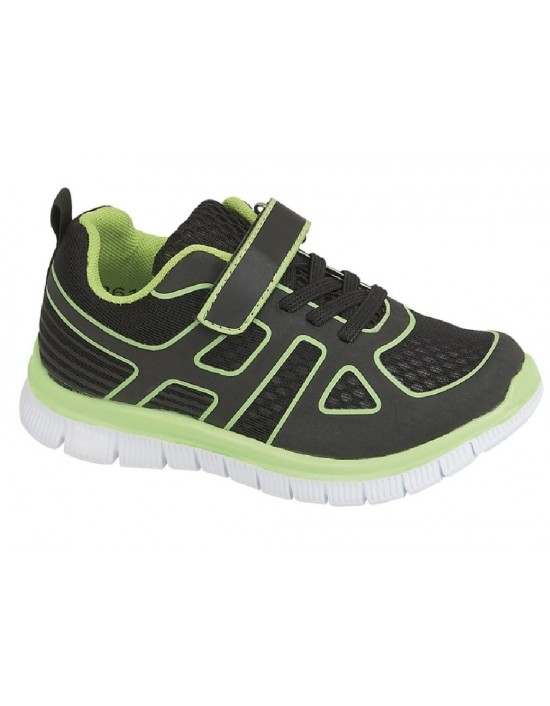 Unisex Glow In The Dark Touch Fastening/Elasticated Lace Up Casual Trainers