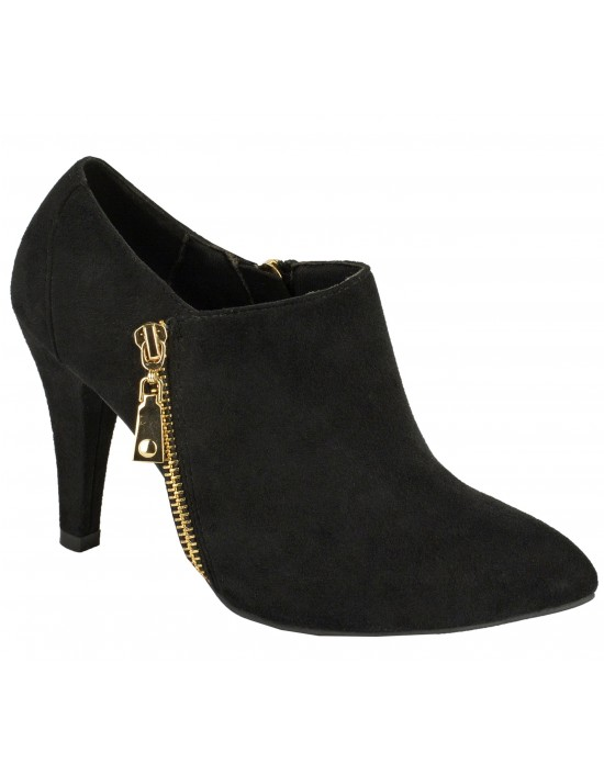 ShuCentre Elina Twin Zip Black Suede Mid Heel Ankle Shoe Boots