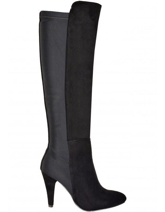 Ladies Black Half Suede Fashion Boots