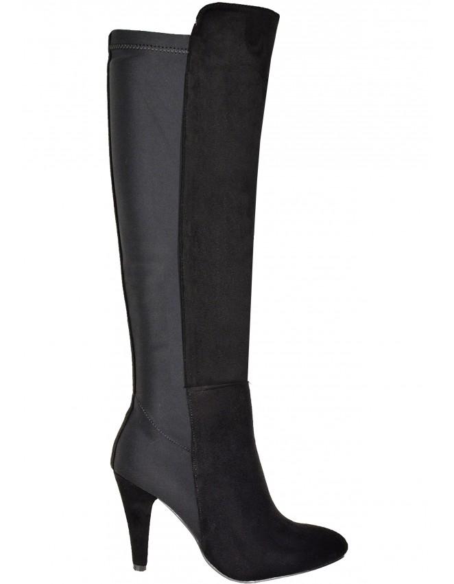 Ladies Black Half Suede Fashion Boots