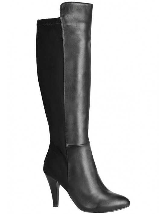Florence Black Mid Heel Half Matte Fashion High Boots