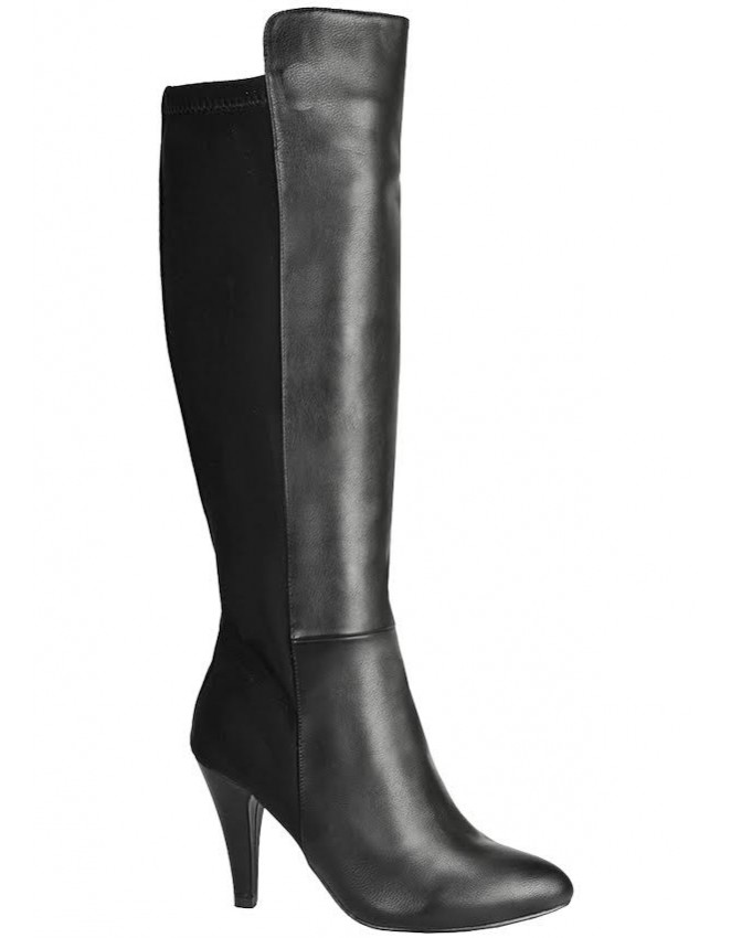e155ab66962 Florence Black Mid Heel Half Matte Fashion High Boots