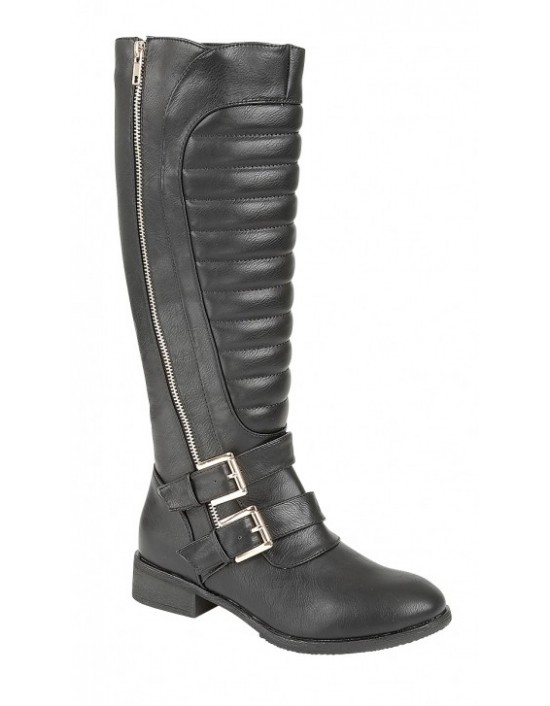 Ladies Black Fashion 'Biker Design' Boots