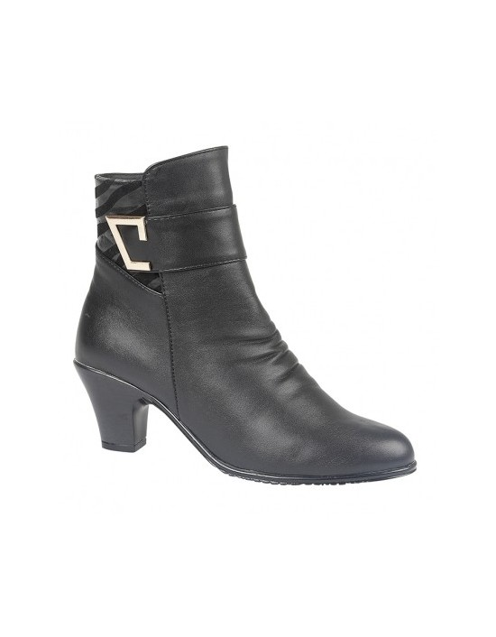 Ladies Black Buckle Trim Casual Boots