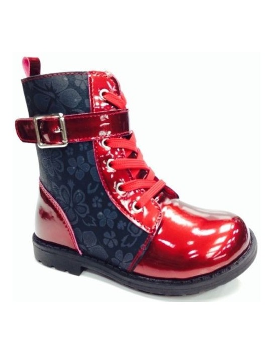 ChatterBox RAE PATENT&FLOWER Red SIDE ZIP LACE UP ANKLE BOOTS
