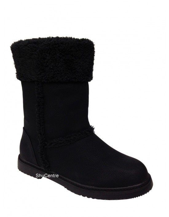 Elenor Women's Ug Boots Soles Tall Classic Outdoor Black Fur Collar UK