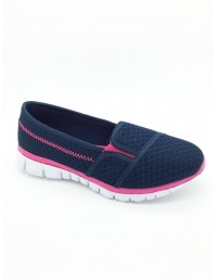 Ladies Black Navy Memory Foam Canvas Insock Ultra Light Slip on Leisure Shoes
