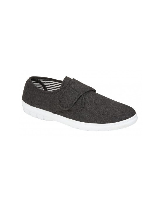 Mens Grey Charcoal Soft Velcro Strap Canvas Shoes