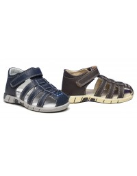 Boys Smart Summer Casual Touch Fastening Strap Sandals Navy And Brown