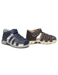 Boys Smart Summer Casual Velcro Strap Sandals - Navy And Brown