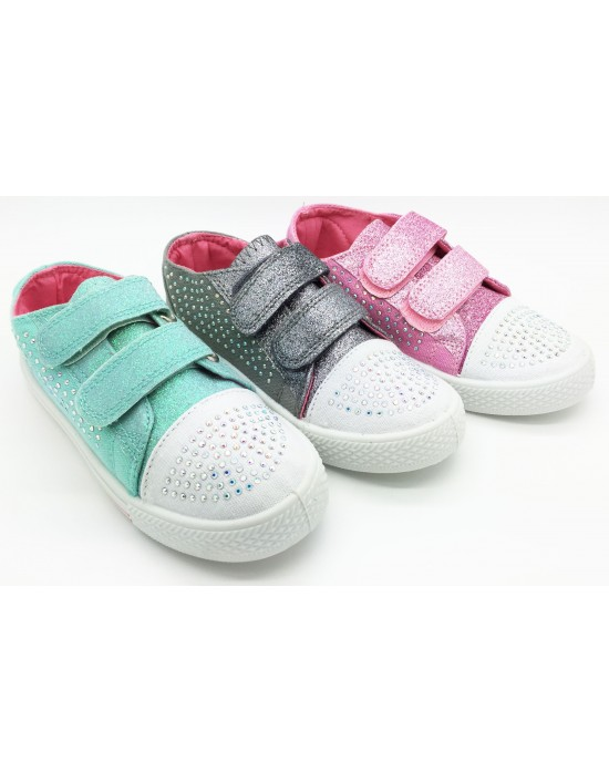 Girls Matilda Glitter Touch Fastening Strap Comfort Summer Canvas Shoes