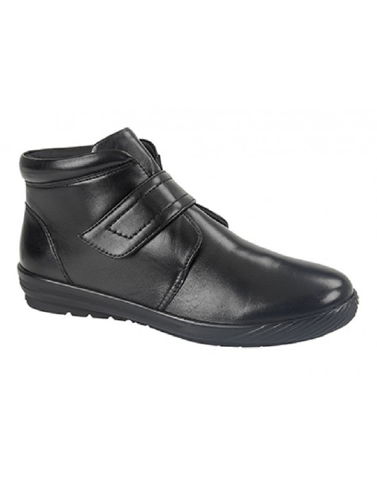 Mod Comfys Anne Leather Touch Fastening Padded Ankle Boots