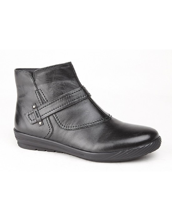 Mod Comfys Simona Leather Padded YKK Inside Zip Ankle Boots