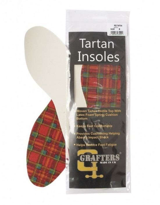 Grafters Unisex Padded 2 Pairs Tartan Checked Quality Insoles