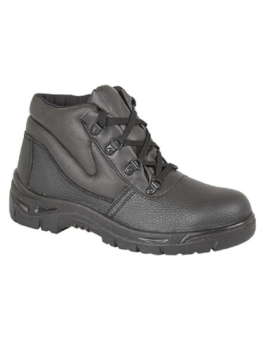 Grafters M5501A Black Grain Leather Padded Ankle Safety Boot