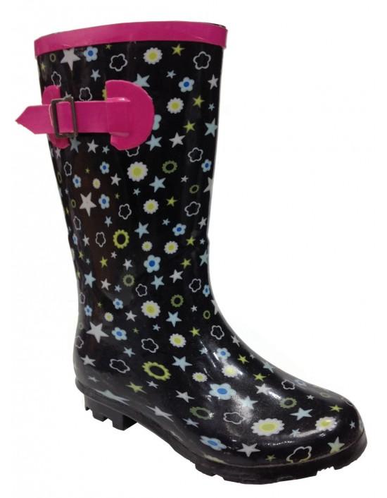 Starburst Girl's Novelty Wellingtons Rain Festival Floral Print Boots