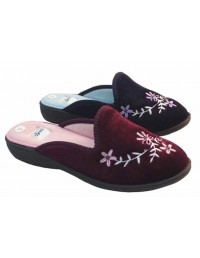 Joyti Vanessa Luxury Embroidered Closed Toe Indoor Bedroom Home Slippers