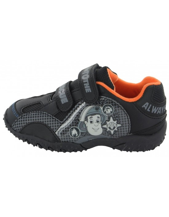 Fireman Sam Light Up Touch Fastening Trainers Perfect For School All Black