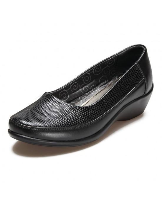 Ladies Black Reptile Wide Fitting Comfort Plus Smart Work Shoes