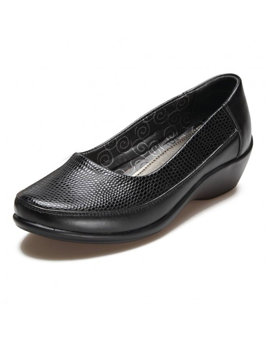 Ladies Black Reptile Wide Fitting Comfort Plus Smart Work Shoes