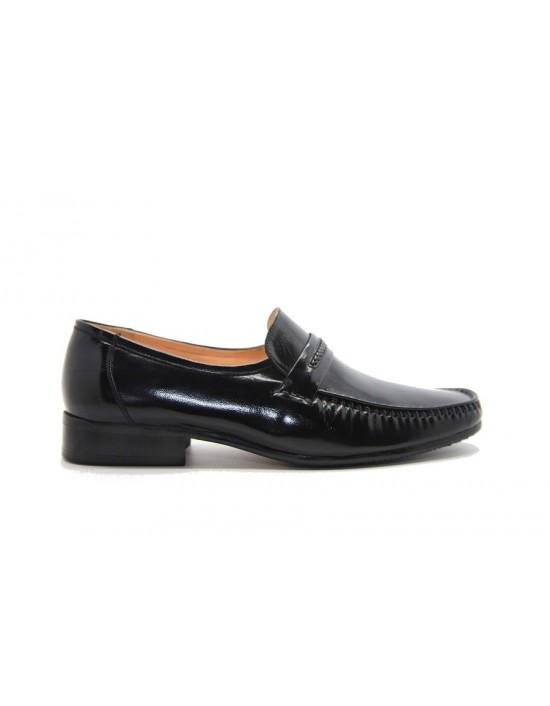 Mens Steph Black Executive Plain All Leather Slip On Smart Mocassin Shoes