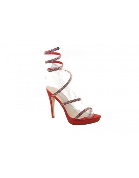 ShuCentre Emma Designer Coil Fit red Metallic Evening Party Sandals 2016