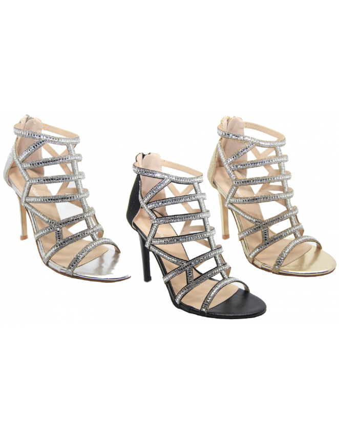 Ladies Strappy Heel Stiletto Diamante Prom Sandals Womens Party High S QoWBCexrdE