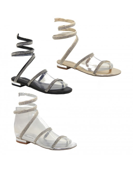 Women's designer Flat Diamante Spiral Strappy Sandals Ladies