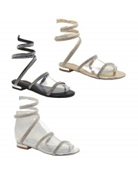 ShuCentre Anne Diamante Coil Spring Flat Heel Metallic Evening Party Sandal Evening Shoes