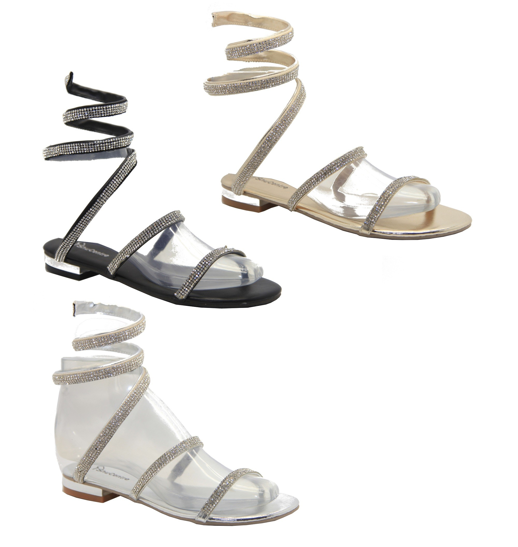 3db4727020d2a Women s designer Flat Diamante Spiral Strappy Sandals Ladies