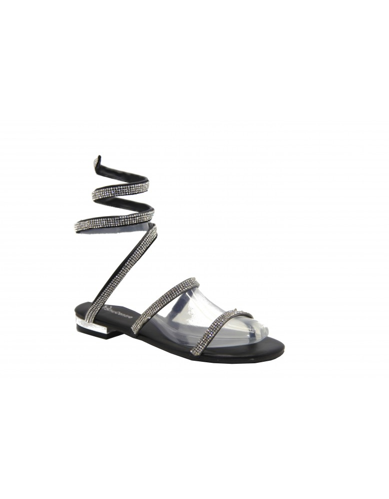 736b7d8c262ac ShuCentre Anne Diamante Coil Spring Flat Heel Metallic Evening Party Sandal  Evening Shoes