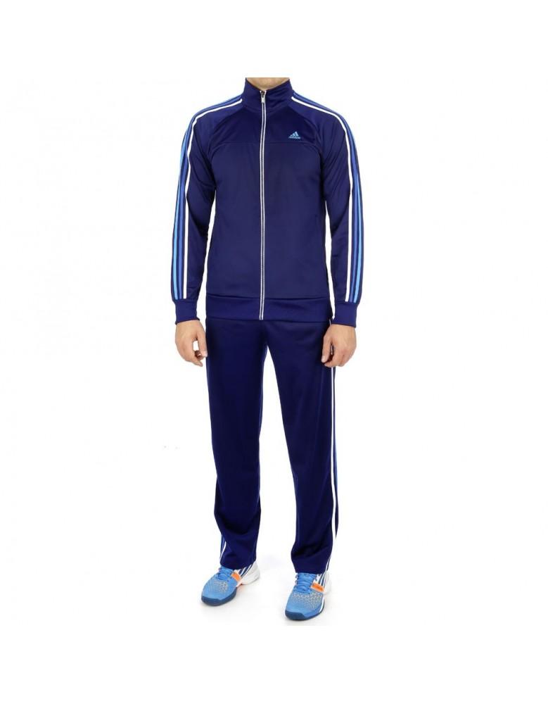 c8bb4ea1fb1f Adidas Mens ESS Retro Night Blue Full Suit Tracksuit Jacket   Bottoms F48329