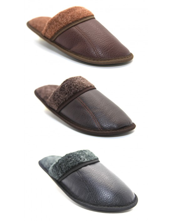 Mens Slip On Cool Warm Indoor Microsoft Leather Look Slippers