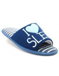Ladies Luxury Stripe Open Toe I Love Sleep Heart Indoor Slippers