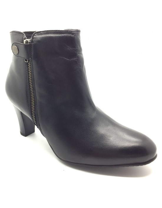 Womens Full Leather Twin Zip Heeled Stud Fashion Ankle Boots