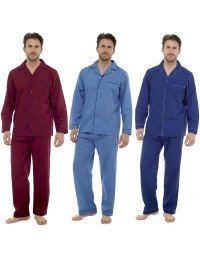 New Mens Plain Poly Cotton Traditional Pyjamas Set Pjs Sizes M L XL XXL HT325A