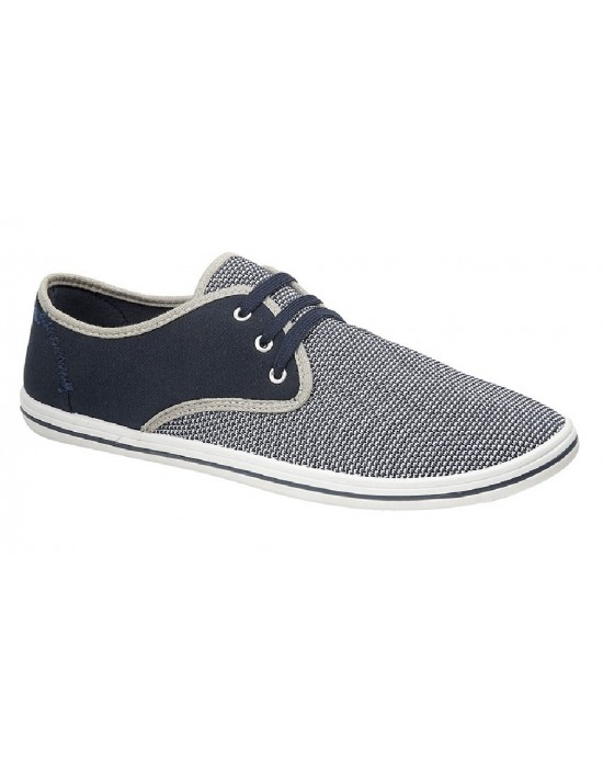 Dek Morris 3 Eye Leisure Tie Casual Smart Textile Summer Canvas Shoes