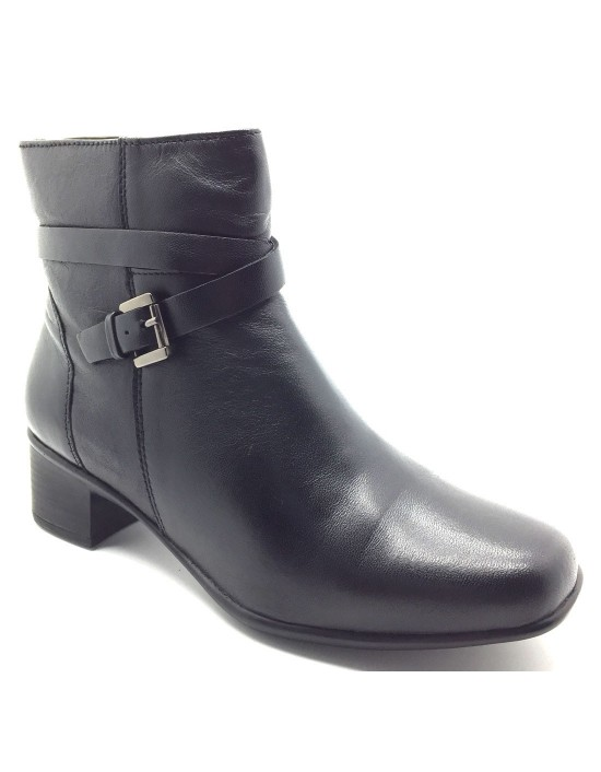 Ladies Strappy Heeled Black Soft Leather Full Leather Ankle Boots