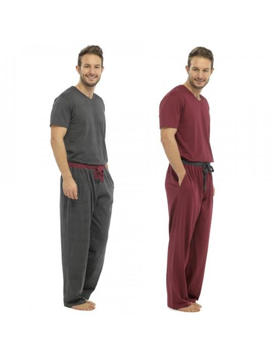 Mens Foxbury Classic Comfort Jersey Pyjama PJ Set Grey Red