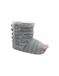 Girls Small Kids Ankle Bootee Novelty Claw Slippers Grey Pink