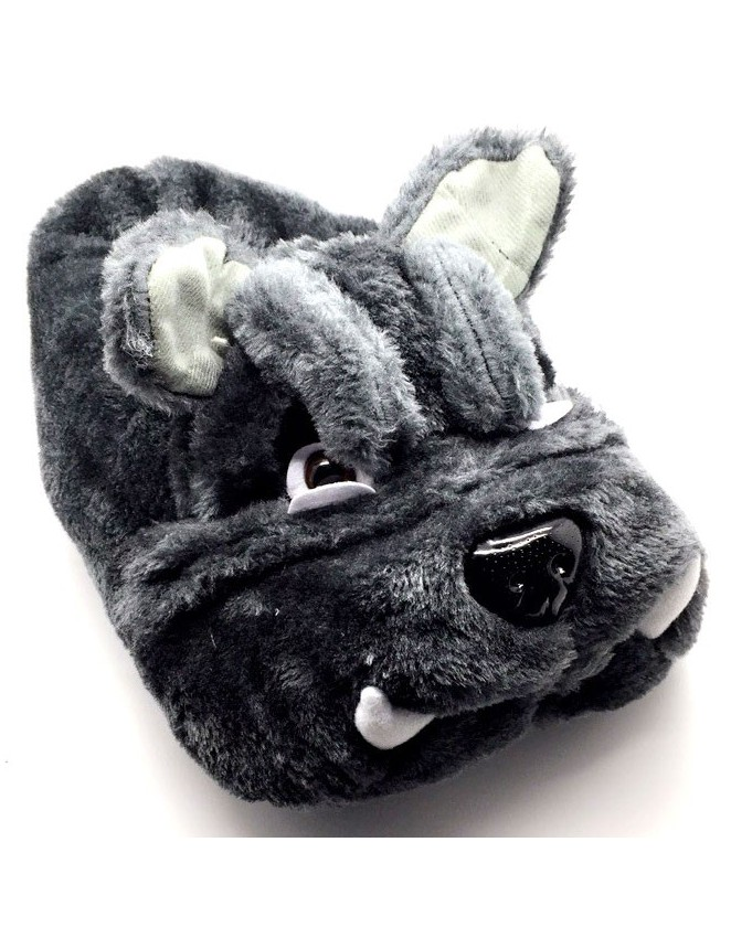 NEW Novelty Dark Grey Bulldog Indoor Funny Gift Slippers Adults Kids
