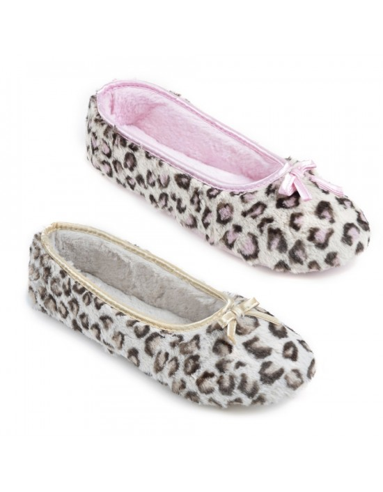 Womens JENNY Leopard Print Soft Slip On Indoor Slippers