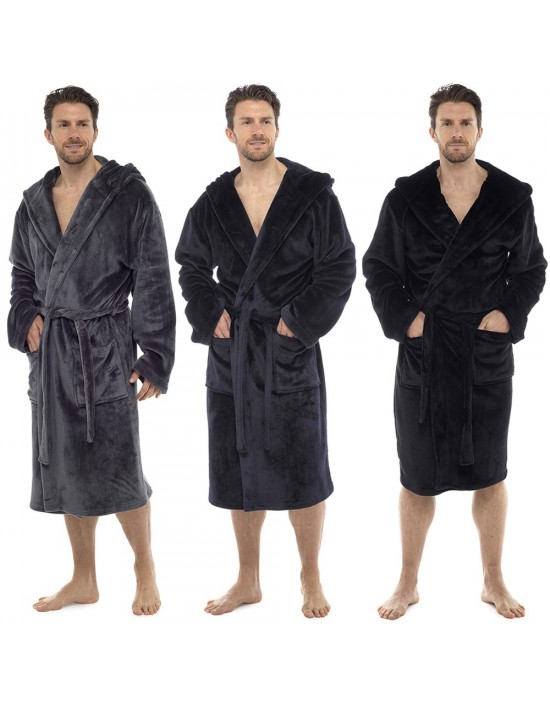 MENS SOFT&COZY HOODED FLEECE DRESSING GOWN BATHROBE ROBE SIZES M/L L/XL